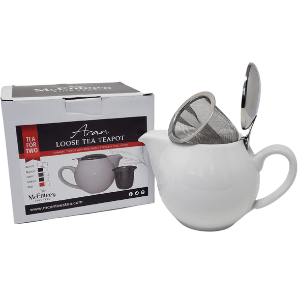 Aran 500ml (1-2 cup) Ceramic Teapot Stainless Steel Lid Teapot with removable Stainless Steel Mesh Infuser for use with loose tea. Available in a range of colours