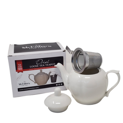 Oriel White 500ml (1-2 cup) Ceramic Teapot Stainless Steel Lid Teapot with removable Stainless Steel Mesh Infuser for use with loose tea.- McEntee's Tea