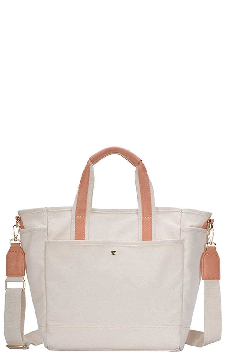 Designer Canvas Fabric Satchel With Long Strap