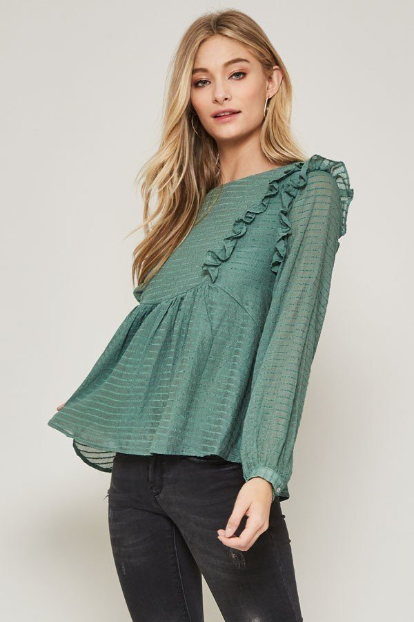 Green, Semi-sheer Striped Woven Top