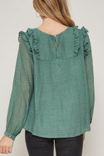 Load image into Gallery viewer, Green, Semi-sheer Striped Woven Top