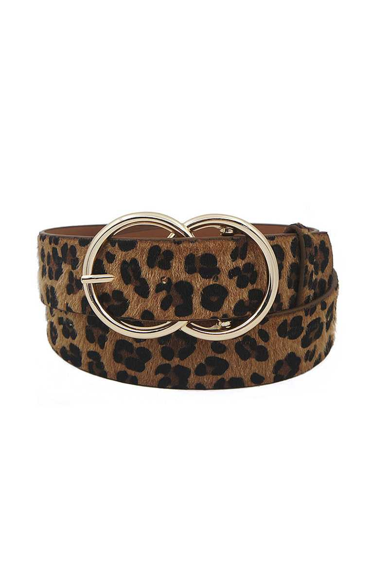 Trendy Leopard Fur Double Ring Buckle Belt