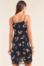 Load image into Gallery viewer, Navy Multi Floral Lace Trim Slip Mini Dress