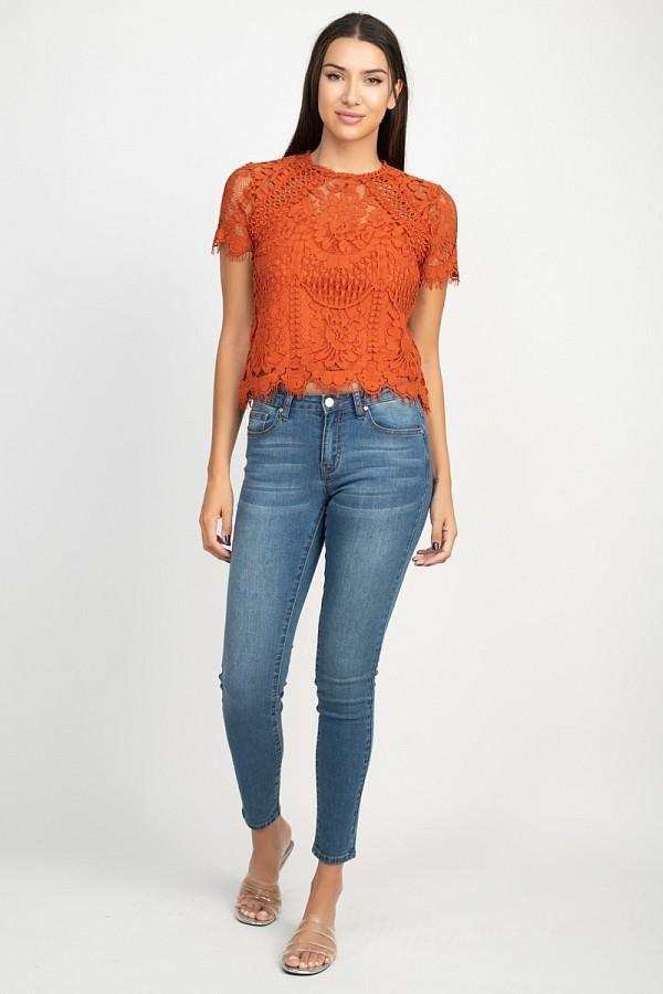 Eyelash Floral Lace Top