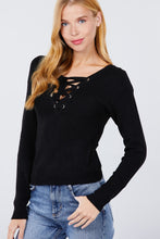 Load image into Gallery viewer, V-neck Eyelet Strap Back Sweater