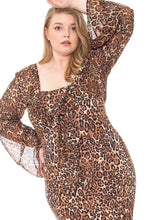 Load image into Gallery viewer, Leopard Print Cardigan & Dress Plus Size Set