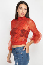 Load image into Gallery viewer, Lace Trim Balloon Sleeve Smocked Top