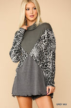 Load image into Gallery viewer, Solid And Animal Print Mixed Knit Turtleneck Top With Long Sleeves