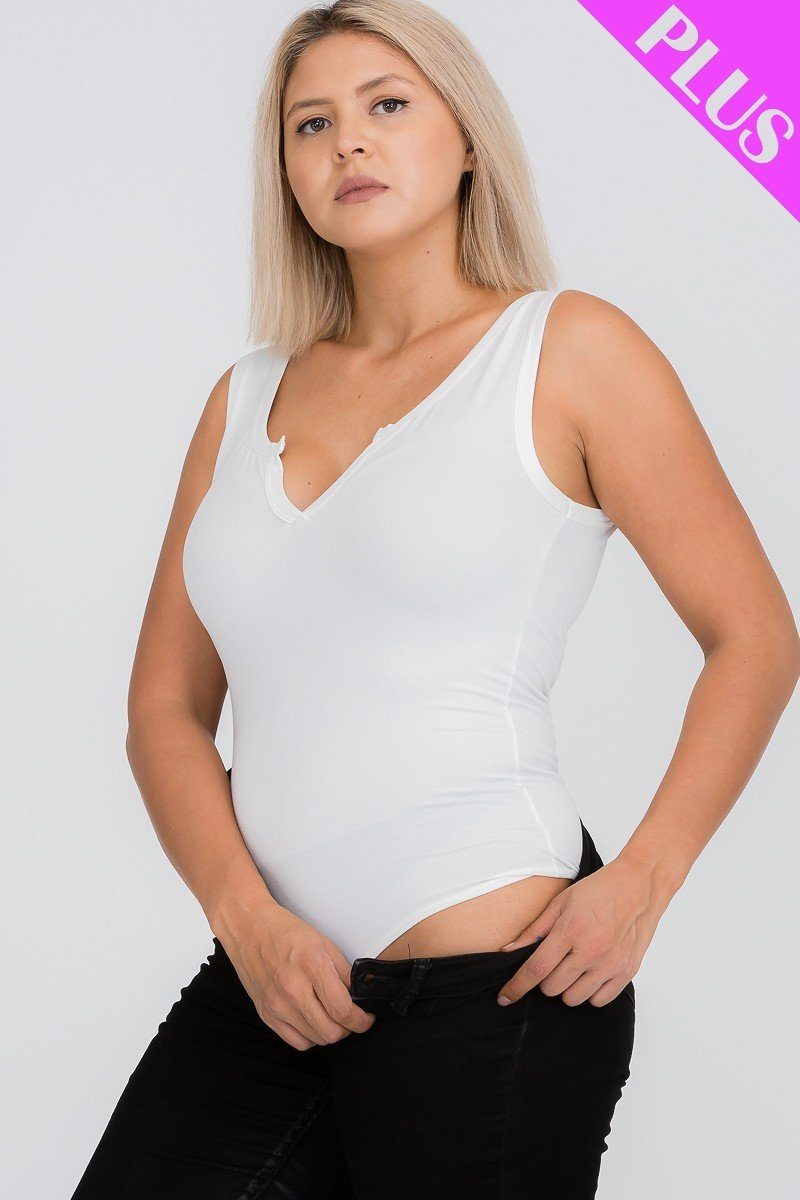 Split Neckline Bodysuit Top