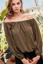 Load image into Gallery viewer, Off Shoulder Long Bubble Sleeve Solid Top