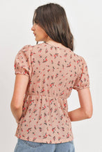 Load image into Gallery viewer, Front Tie Floral Waffle Top