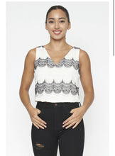 Load image into Gallery viewer, White and Black Embroidery Top