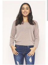 Load image into Gallery viewer, LONG SLEEVE ROUND NECK OPEN BACK KNOTT DETAIL THIN KNIT TOP