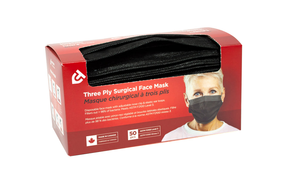 Medical Grade 3-ply Surgical Face Masks (Charcoal Black)