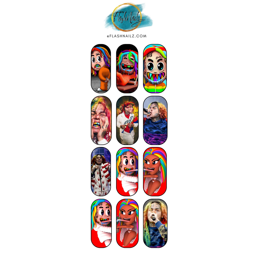 FlashNailz 6ix9ine Water Transfer Fingernail Art Sticker Decals