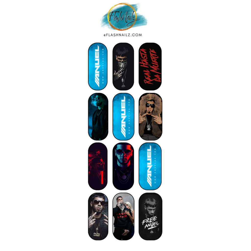 FlashNailz Anuel AA Water Transfer Nail Art Sticker Decals