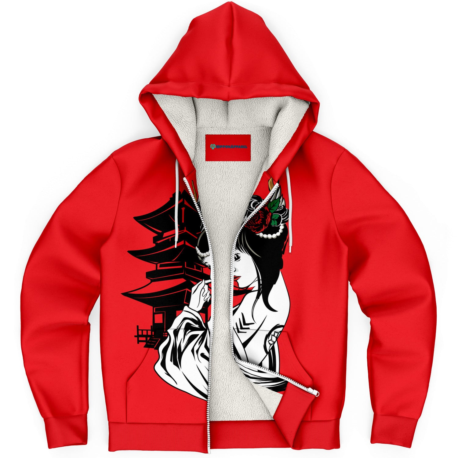 Geisha Girl with Japanese Architecture AOP Microfleece Hoodies