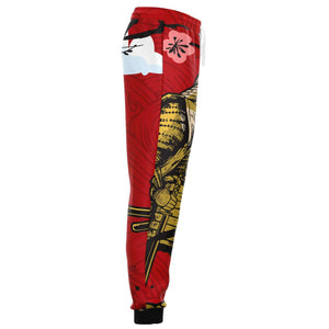 Samurai with Cherry Blossom in Red Sky AOP Joggers