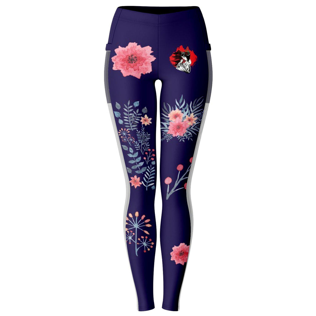Purple Geisha Lady Mesh Pocket Leggings