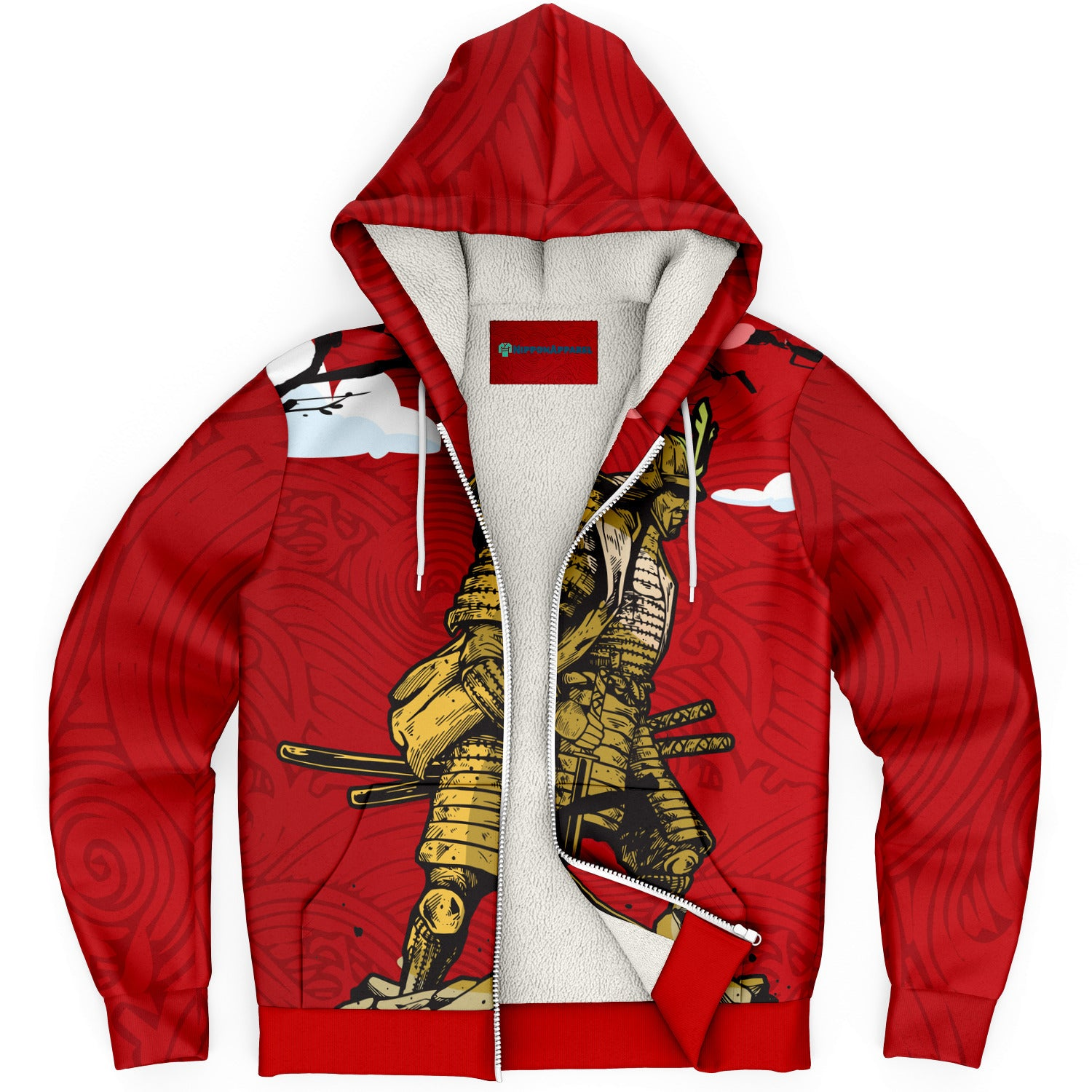 Samurai under Cherry Blossom with Red Cloud Sky AOP Microfleece Hoodies