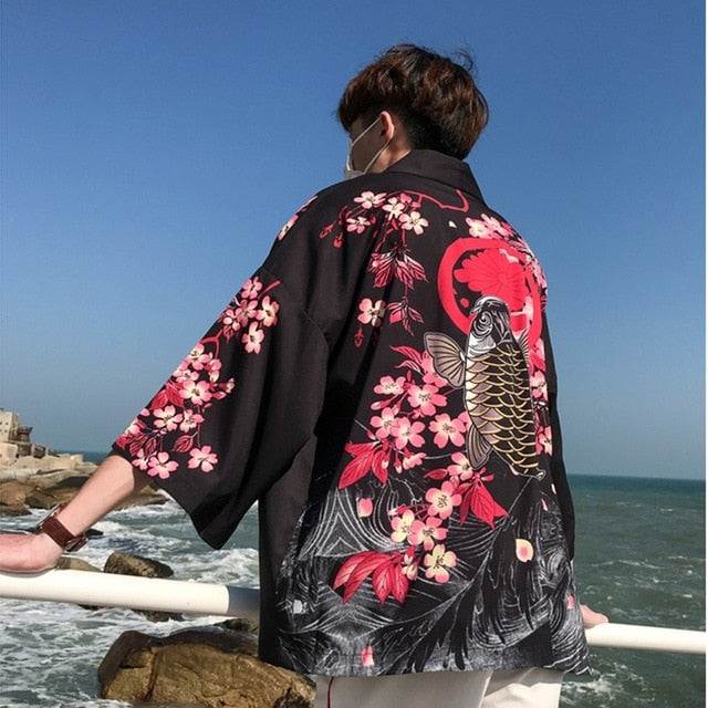Crane and Koi Fish Printed Kimonos
