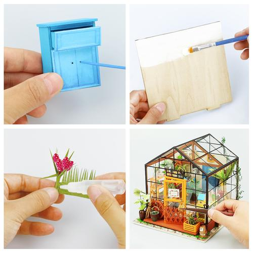 DIY Wooden Flower house Miniature 3D LED Mini Dollhouse Kit