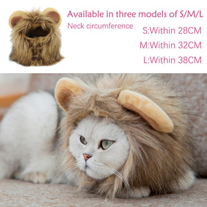 Lion Mane Wig Cap Hat For Cat Dog Halloween Christmas Fancy Dress Funny Cute Pet Costume