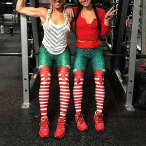 Christmas Leggings - Candy Stripe Bow
