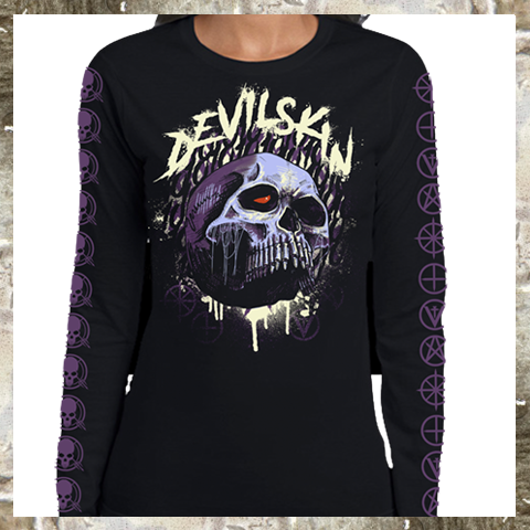 PURPLE SKULL WOMENS LS