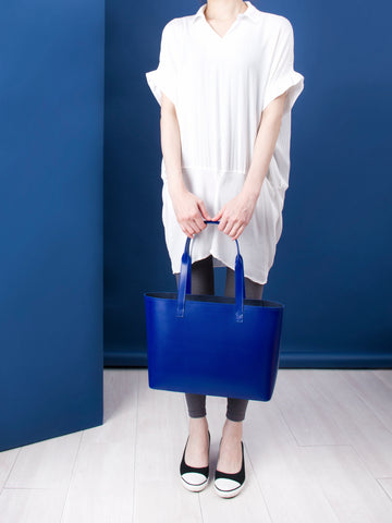 New smaller recycled leather tote by Paperthinks in Navy blue