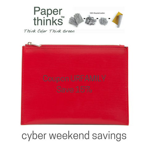 Enjoy 15% off Paperthinks recycled leather goods during cyber weekend with code URFAMILY