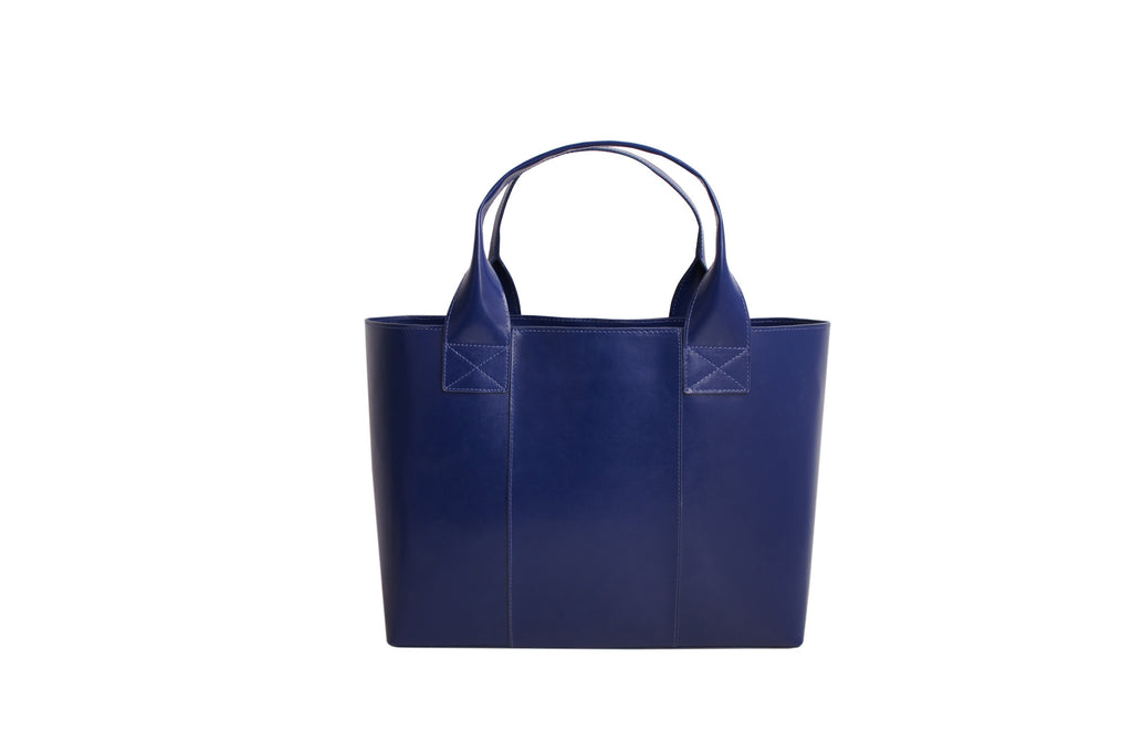 Paperthinks Recycled Leather Shopping bag- Navy Blue - Paperthinks.us