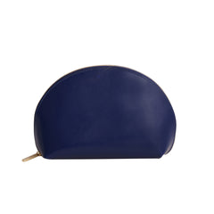 Paperthinks Recycled Leather Cosmetics Pouch in Navy Blue-Side image showing closed pouch