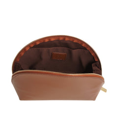 Paperthinks Recycled Leather Cosmetics Pouch Tan-Open showing cotton lining and slide pocket