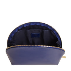 Paperthinks Recycled Leather Cosmetics Pouch Navy Blue-Open showing cotton lining and slide pocket