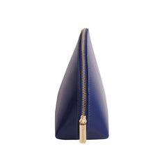Paperthinks Recycled Leather Cosmetics Pouch in Navy Blue-Side image showing zipper-pull