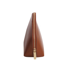 Paperthinks Recycled Leather Cosmetics Pouch in Tan-Side image showing zipper-pull