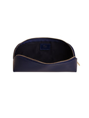 Paperthinks Recycled Leather Long Pouch Navy Blue -Open showing cotton lining