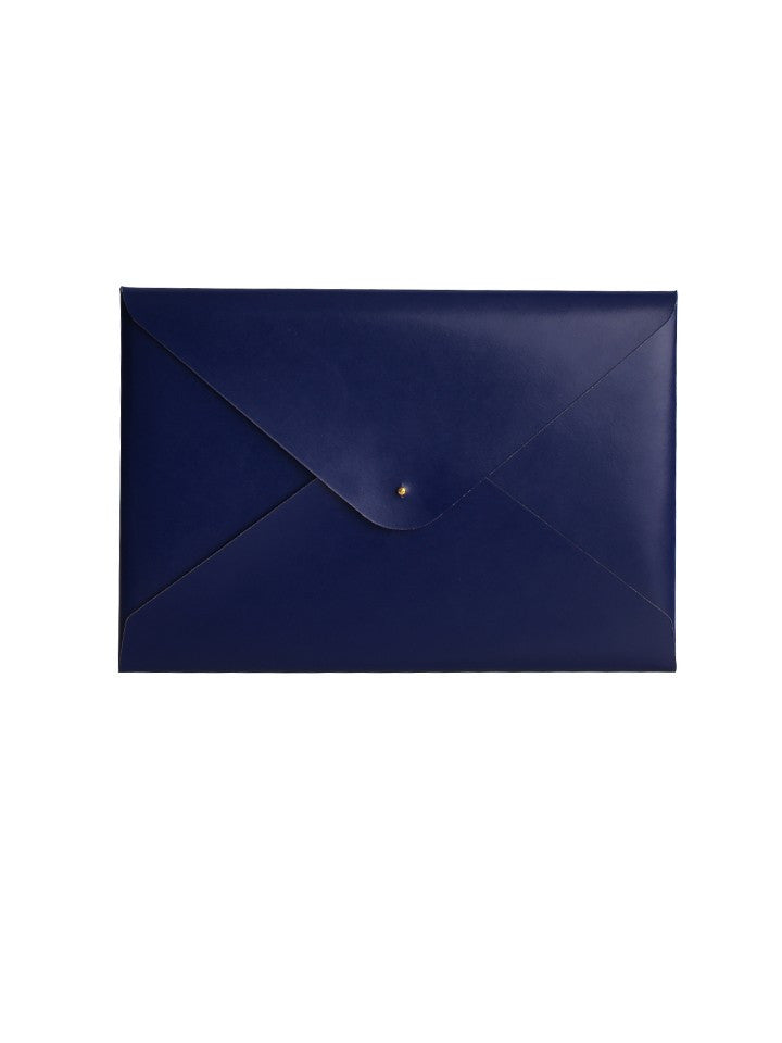 Paperthinks Recycled Leather A4/Letter Size Document Folder - Navy Blue - Paperthinks.us