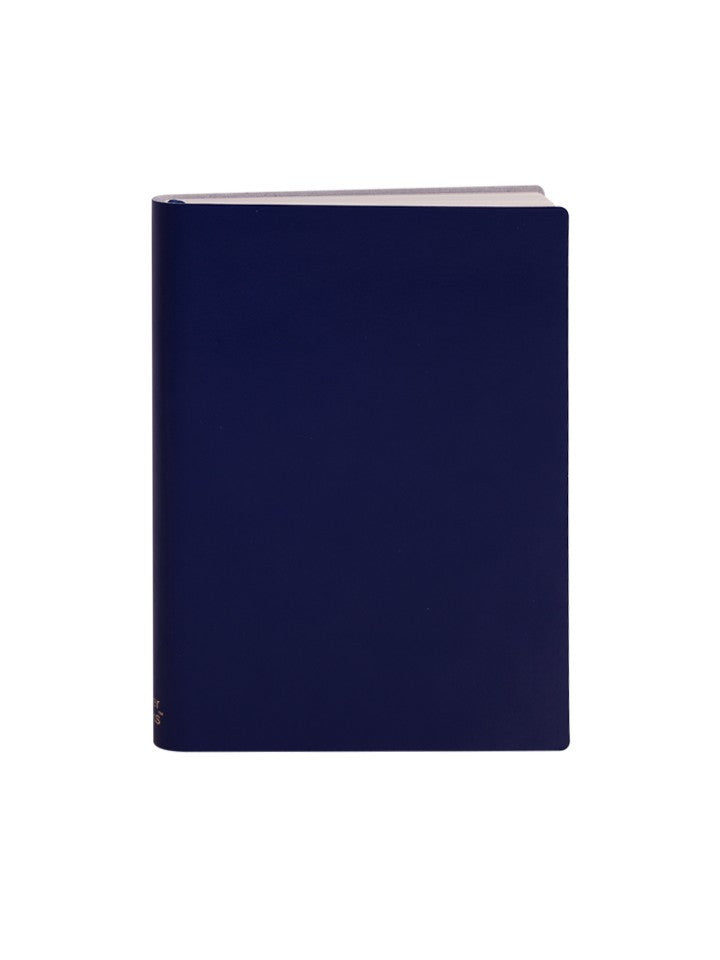 Paperthinks Recycled Leather Large Notebook; Ruled - Navy Blue - Paperthinks.us