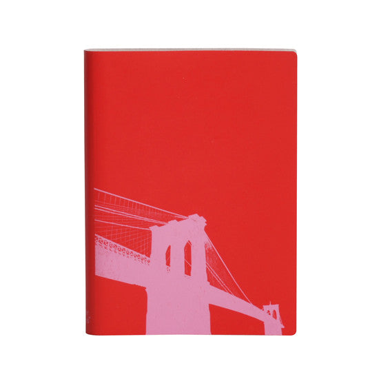 Large Slim Notebooks; Brooklyn Bridge - Poppy Red - Paperthinks.us