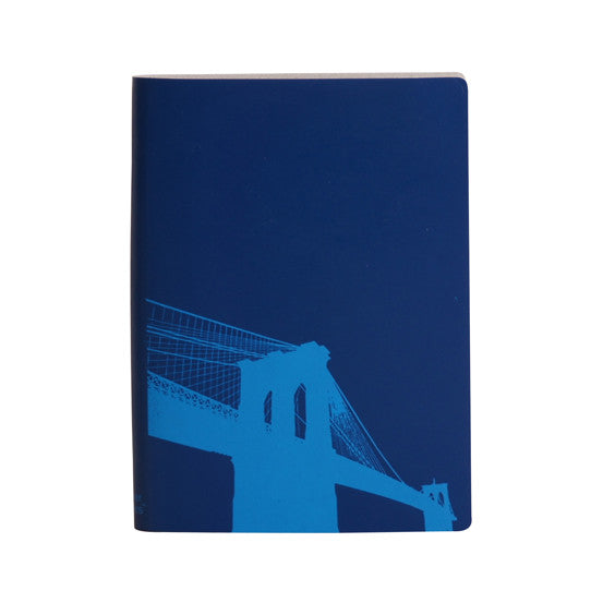 Large Slim Notebooks; Brooklyn Bridge - Marine Blue - Paperthinks.us