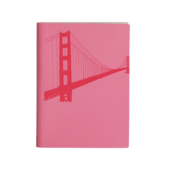 Large Slim Notebooks; Golden Gate Bridge - Fuchsia