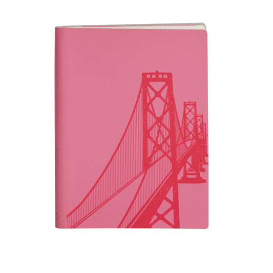 Large Slim Notebooks; San Francisco Bay Bridge - Fuchsia