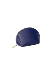 Paperthinks Recycled Leather Coin Pouch in Navy Blue-Closed angle view