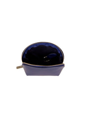 Paperthinks Recycled Leather Coin Pouch in Navy Blue-Open Showing Cotton Lining and Detachable Key Fob