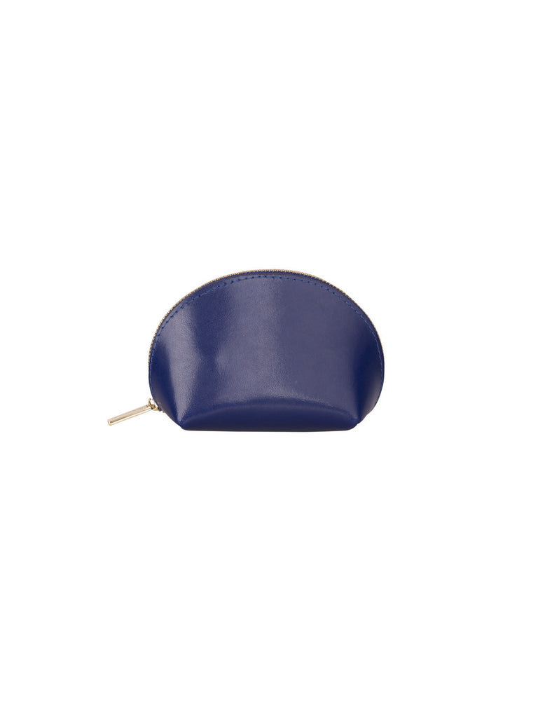 Paperthinks Recycled Leather Coin Pouch in Navy Blue-Closed Sideview