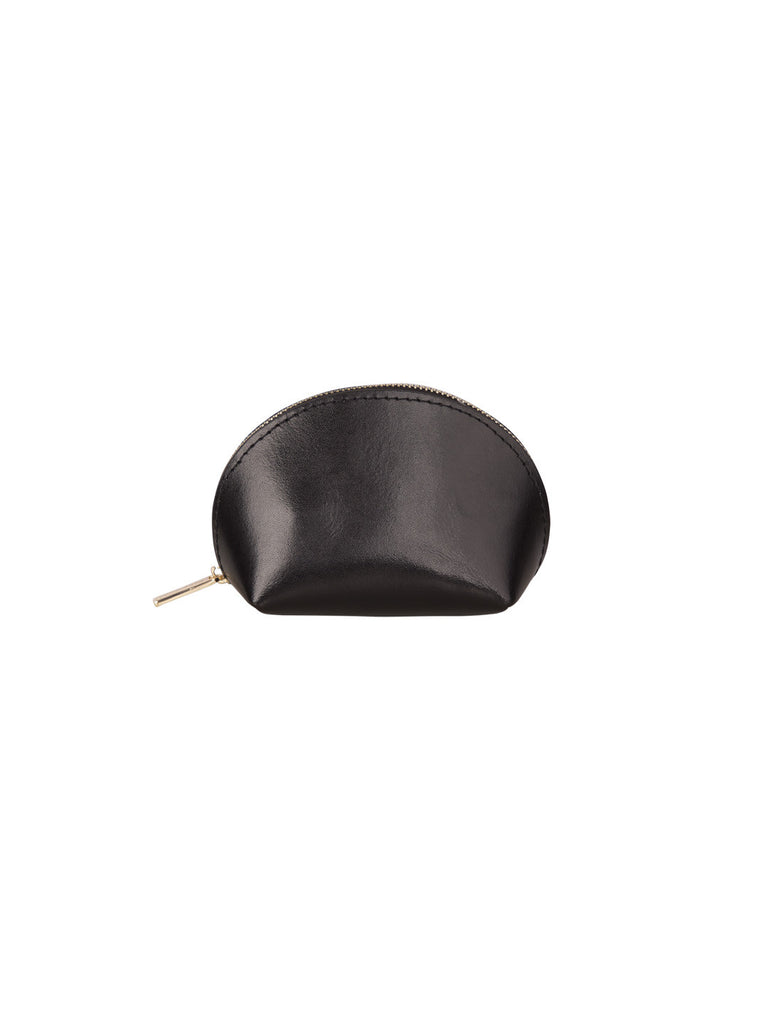 Paperthinks Recycled Leather Coin Pouch in Black-Closed Sideview