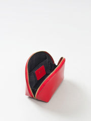 Paperthinks Recycled Leather Coin Pouch in Scarlet Red-Open back view