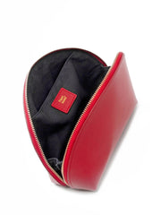 Paperthinks Recycled Leather Cosmetics Pouch Scarlet Red-Open showing cotton lining and slide pocket